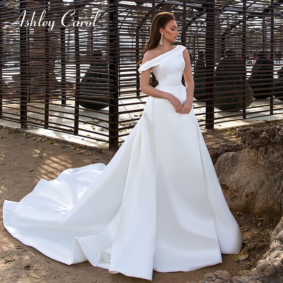 Ashley Carol Sexy One Shoulder Satin Vintage Wedding Dress 2020 Detachable Train 2 In 1 Romantic Simple A-Line Wedding Gowns