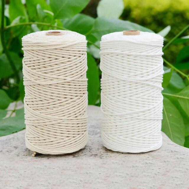 Cable de algodón blanco duradero de 200m, artesanía de cuerda trenzada Beige Natural, cordón de macramé, bricolaje, suministro decorativo para el hogar hecho a mano de 3mm