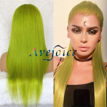 Green Baby Hair Pre plucked 613 Blonde Blue Purple Grey Lace Front Wig 150% Densityce Human Hair Swiss Lace Wigs(China)