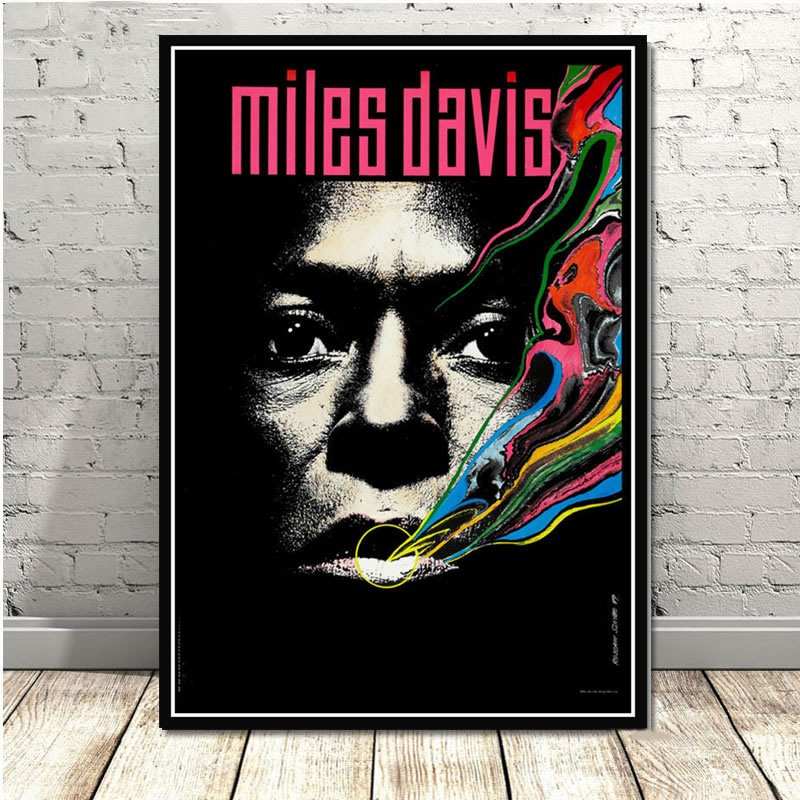 Miles Davis Blue Jazz Music Album Pop Star Poster Prints Wall Art Oil Painting Canvas Wall Pictures For Living Room Home Decor image