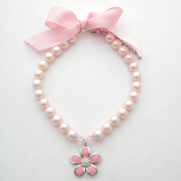 Dog Pearls Necklace Collar Rhinestones With Flower Charm Pet Puppy Jewelry For Female Dogs Cats