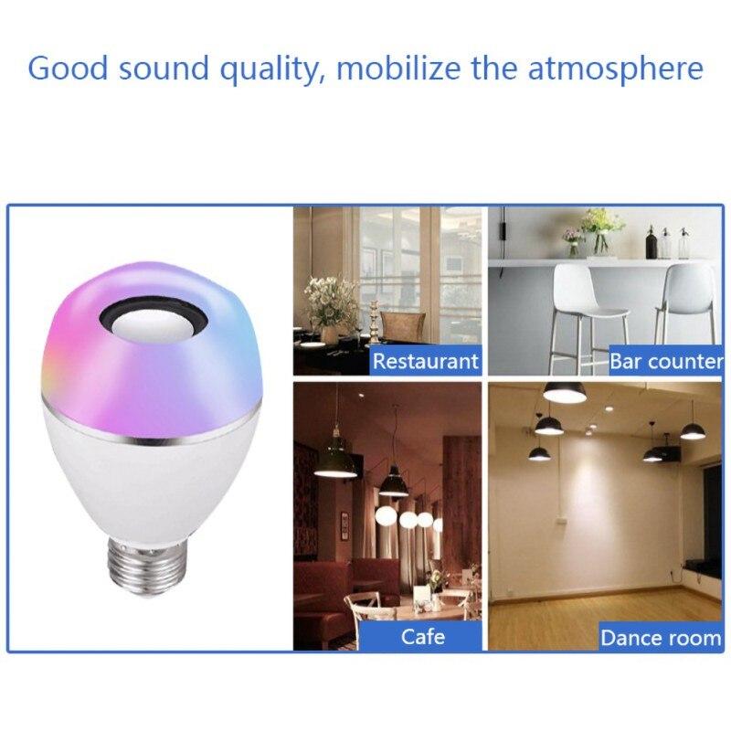 Diodo emissor de luz sem fio alto falante rgb música inteligente bulbo e26 base cor mudando com decorações de controle remoto - 3