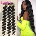 Luvin 28 30 32 34 40 インチ 1 3 4 ブラジル髪織りバンドル本体波レミー人間の髪ナチュラルダブル描か