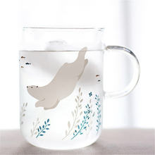 Симпатичная стеклянная кружка с белым медведем красивая кофейная