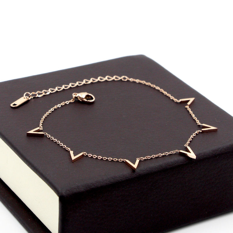 Fashion Jewelry 6 V Letter Rose Gold Anklet Titanium Steel Foot Chain Woman Jewelry Anklet Length 20cm + 5cm