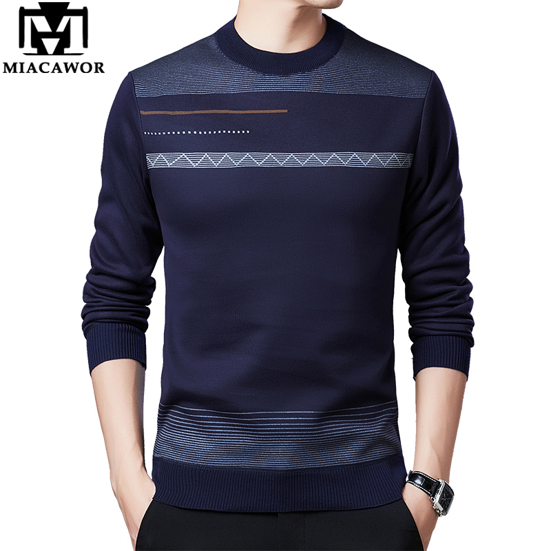 MIACAWOR Winter Sweater Men Fleece Warm Pullover Men Slim Fit Jumper Sweater O-Neck Knitted Pull Homme Men Clothing Y225
