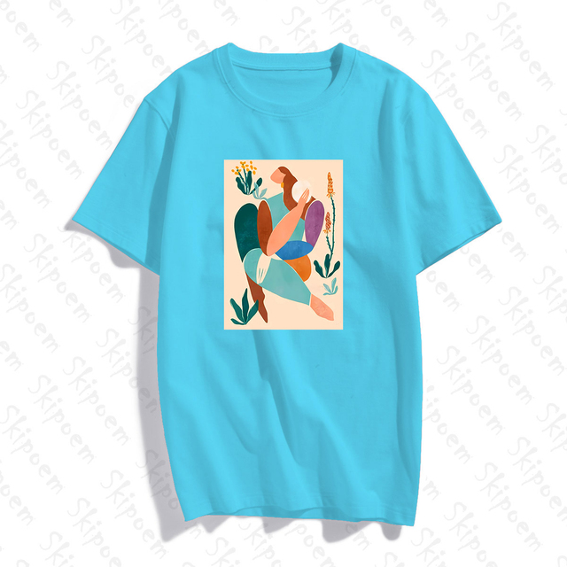 Abstract Art Woman With Green Plants T-shirt Women Vintage Aesthetic 8 Colors Short Sleeve Cotton Tee Shirt Femme Summer Tops 1