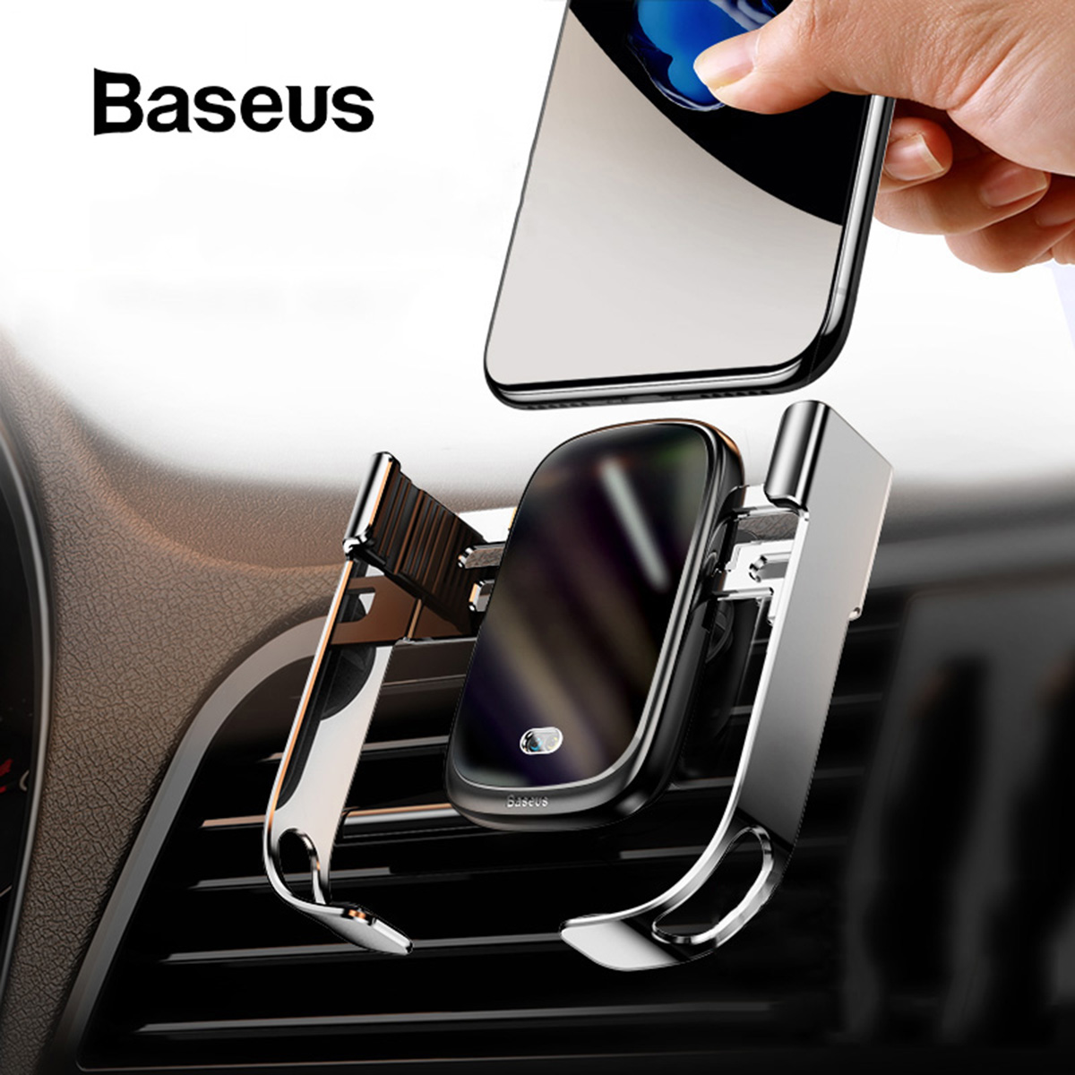 <font><b>Baseus</b></font> Intelligent Infrared Qi Wireless <font><b>Charger</b></font> For iPhone <font><b>Car</b></font> Air Vent Holder <font><b>Charger</b></font> 10W Fast Charging for iPhone 11 Pro XS image