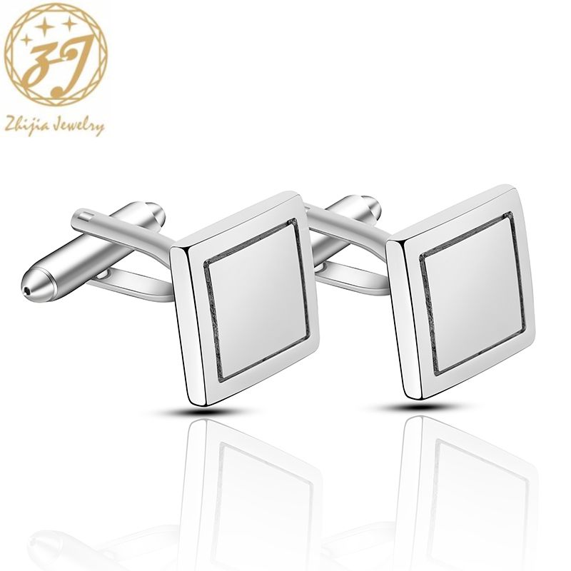 Zhijia Simple Business Style Square Cufflink For Men Silver Color Geometric Cufflinks Accessories Male Best Gifts