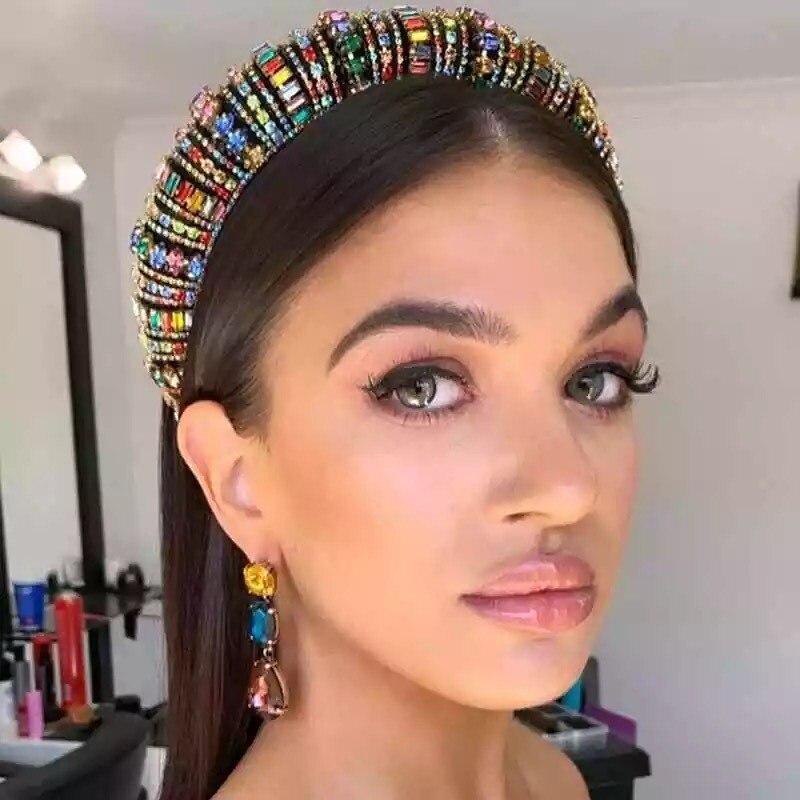 Baroque Full Crystal Beaded Hair Bands For Women Handmade Hair Shiny Padded Diamond Headband Hair Hoop Fashion Hair Accessories