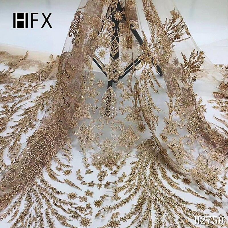 HFX 3D dentelle tissu 2019 dentelle de haute qualité, tissu de dentelle africaine rose poudré, dentelle faite à la main avec des perles F2750-in Dentelle from Maison & Animalerie    1
