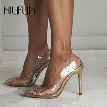 Plus Size 35-42 Sexy Pointed Transparent Womens Pumps Fashion Rhinestone Shallow Shoes Stiletto High Heels NIUFUNI 2019