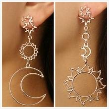 Boho asymétrique creux étoile soleil lune goutte pendaison pendaison boucle d'oreille femmes mode boucles d'oreilles pour Femelle Punk boucle d'oreille