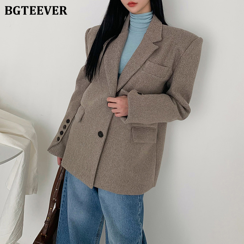 BGTEEVER Vintage Single-breasted Pockets Women Blazer Notched Collar Long Sleeve Loose Thick Female Suit Jackets 2020 Spring
