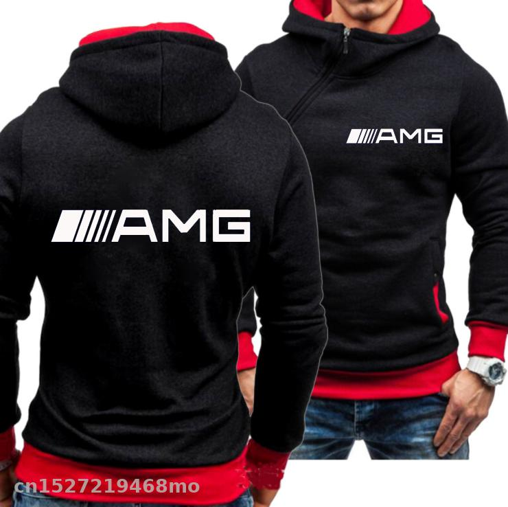 New Men Sports Casual Hoodies For AMG Logo Sweatshirts Fashion Slim Pullover Hoodies Side Zipper Racing Ride Outwear Xz