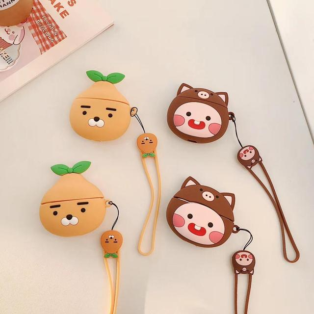 For Apple Airpods pro 2 1 Cute 3D Orange bear Peach Lanyard Bluetooth Wireless Silicone Case