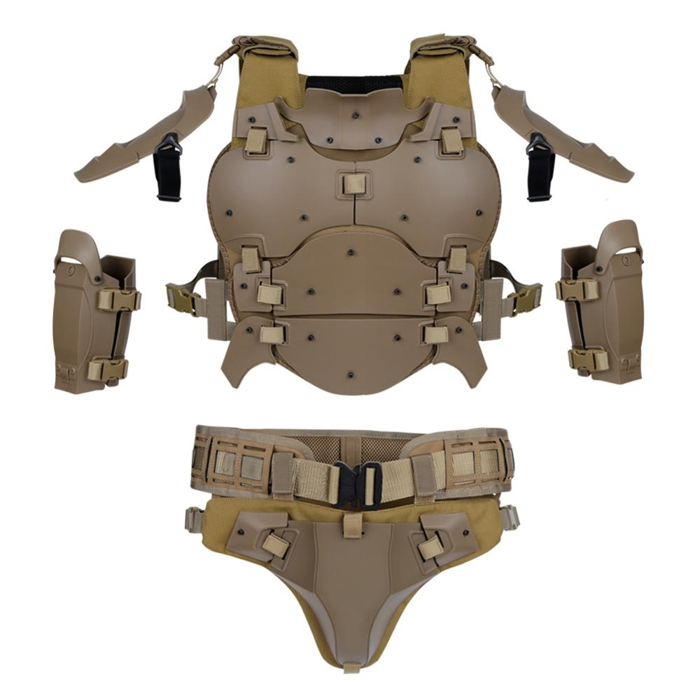 Image 3 - Tactical Lightweight Army Armor Gears Set Outdoor Multi function Adjustable Hunting Elbow Pads Waist Seal For Airsoft PaintballHunting Vests   -