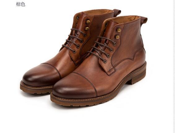 Autumn Winter Men's Retro Ankle Boots Genuine Leather Lace-up Dress Shoes Fashion High-top Martin Boots Wholesale 2 Colour