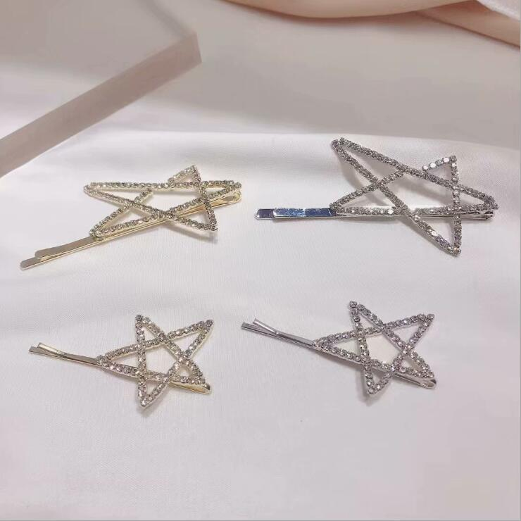 New product 2020 fashion women hairpins sparkling star hair clip side clip female size irregular hairpins