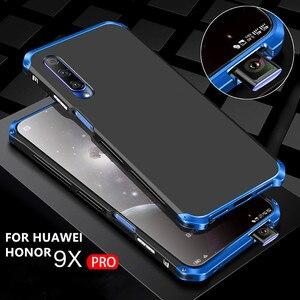 Image 1 - Luksusowe, odporne na wstrząsy pancerz metalowa obudowa Case dla Huawei Honor 9X 9X PRO guma pełna ochronna powrót Coque dla Huawei honor 9x 9x pro