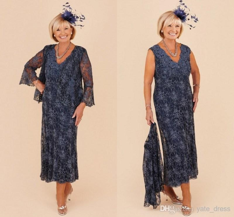 Dark Blue Plus Size Mother Of Bride Dress With Jacket V Neck Full Sleeves Gorgeous Lace Mother Of Bride Dresses Ankle Lenngth