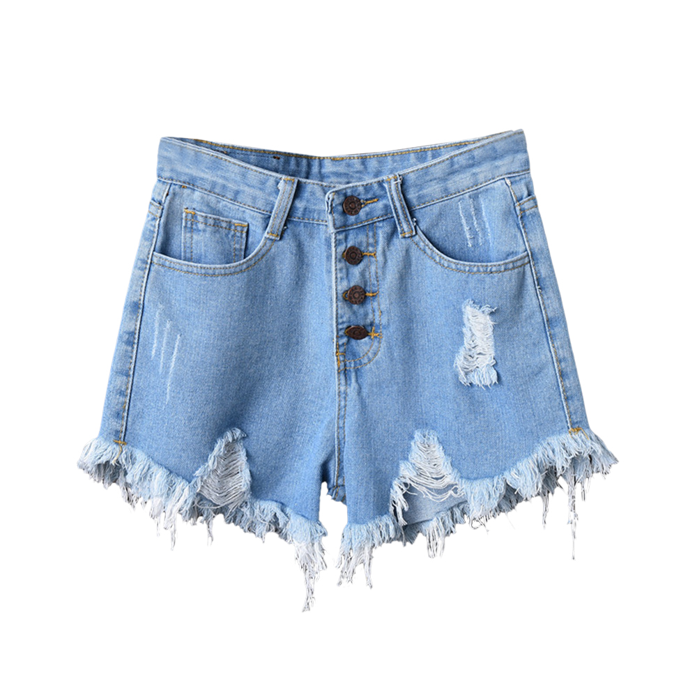 LASPERA 2020 Sexy Summer Denim Shorts Women High Waist Jean Shorts Loose Hole Jeans Shorts With Pockets Casual Plus Size S-6XL