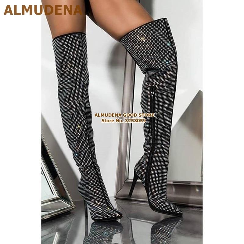 彩钻黑钻后系带长靴 (6)