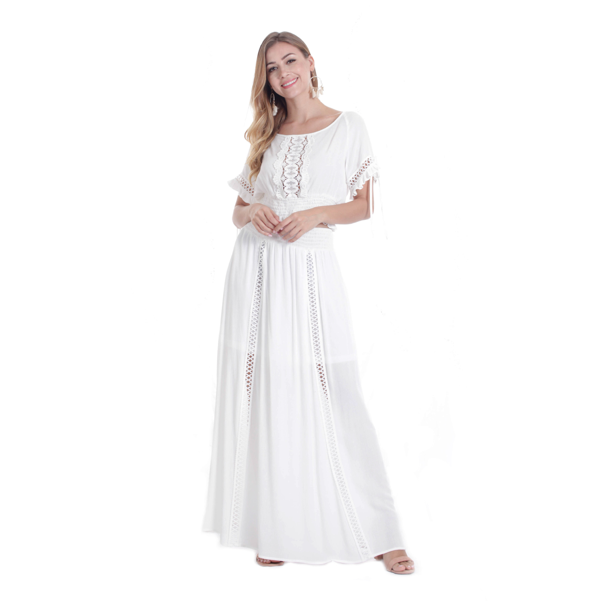 Summer New Style Bohemian Short-sleeved Long Dress Set Casual Large Size Crocheted Flowers Pierced Sloping Shoulder Skirt S