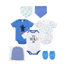 Kavkas Newborn Baby Clothes 2019 Bodysuits 8Pcs Cotton Infant short Sleeve Jumpsuits Boy Girl Clothing Set with Bibs