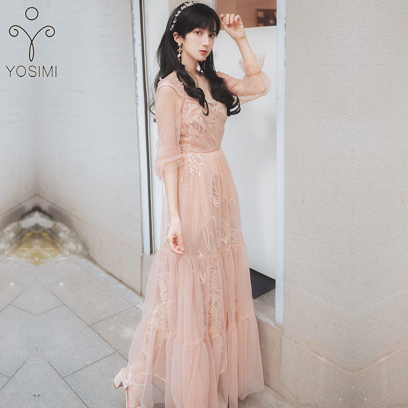 YOSIMI Evening Party Dresses 2019 Summer Maxi Elegant Pink Voile Floral Embroidery Long Women Dress V-neck Full Sleeve Vestidos