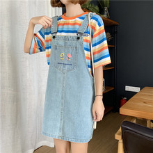 Denim Skirt Overalls Women Girl Kim Hyun A Korean Style Flower Embroidery pockets Japanese Harajuku Strap Dropshipping
