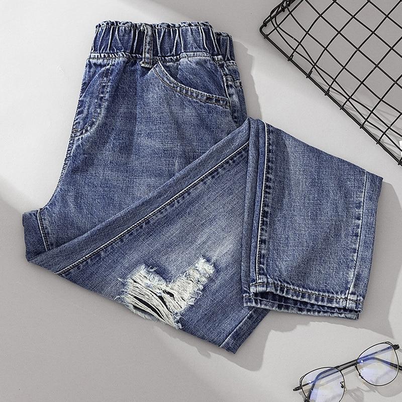4xl Plus Big Size Jeans Panty Women Spring Winter Autumn 2020 Feminina Elastic High Waist Hole Casual Denim Pants Female A5336