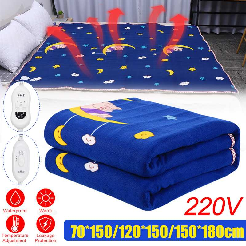 180x150cm Winter Electric Blanket Heater Single Body Warmer Heated Blanket Electric Heating Blanket Warm Pad 220V 180W US Plug