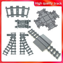 Train Flexible Tracks City trein Cross Track Rail Straight Curved Rails Building Block Bricks Model Compatible All Brands train cheap leduo Unisex 6 years old Small building block(Compatible with Lego) Certificate train track Not for children under 3 years