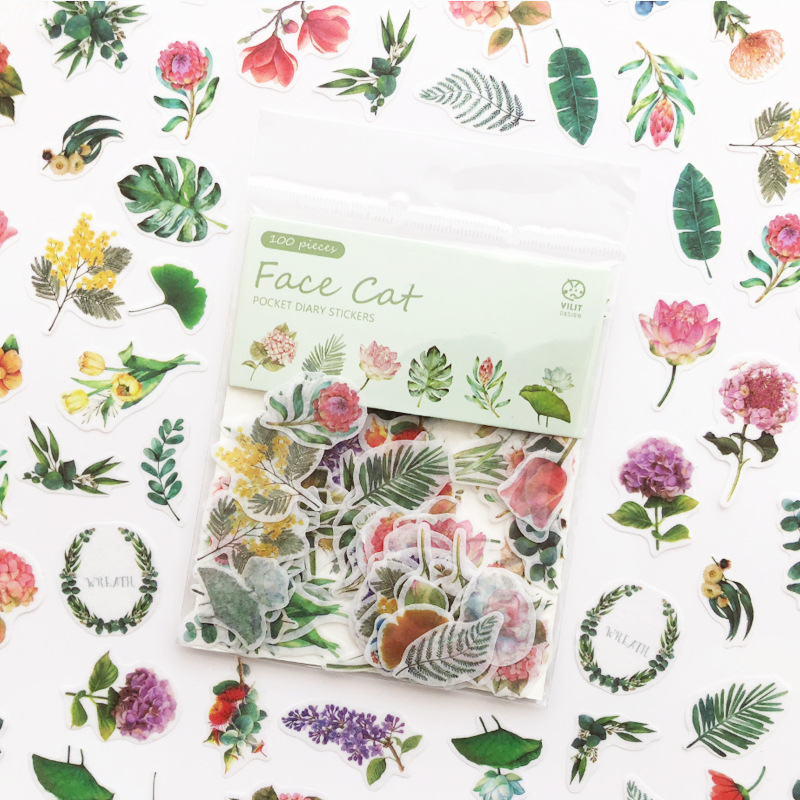 100 Pcs/pack Kawaii Green Plant Sticker Cat Stickers For Kids Diy Diary Scrapbook Stickers School Office Supplies Stationery