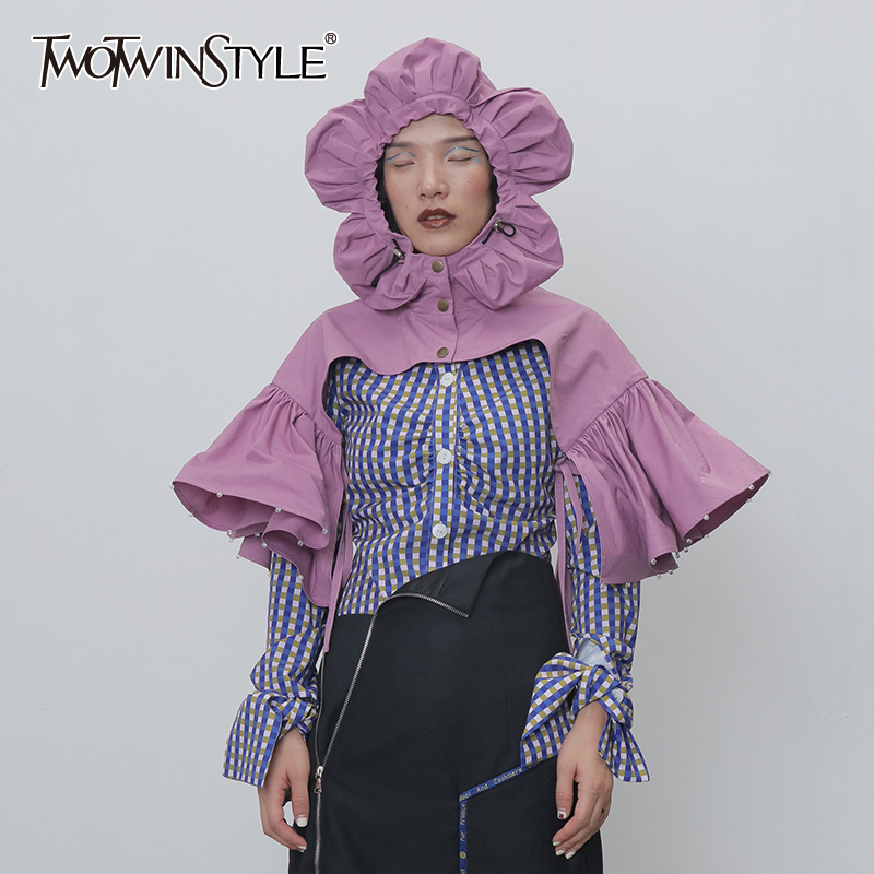 TWOTWINSTYLE Patchwork Beads Ruched Pashminas For Female Hooded Collar Half Sleeve Drawtring Lace Up Pashmina Women Fashion Tide