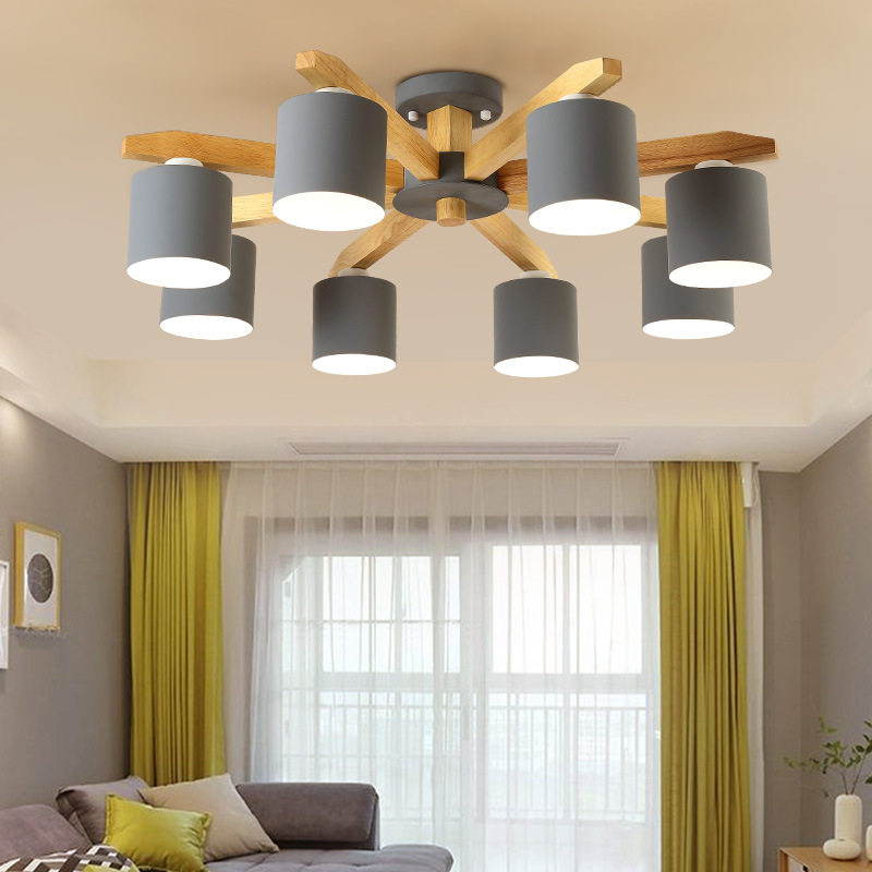 Modern Wood Chandelier lighting Nordic LED E27 With Iron Lampshade For Living Room Suspension Lighting Fixtures Lamparas Lustre