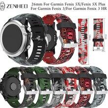 26mm Printed silicone strap For Garmin Fenix 5X/5X Plus frontier/classic bracelet 3/3 HR Smart Watch