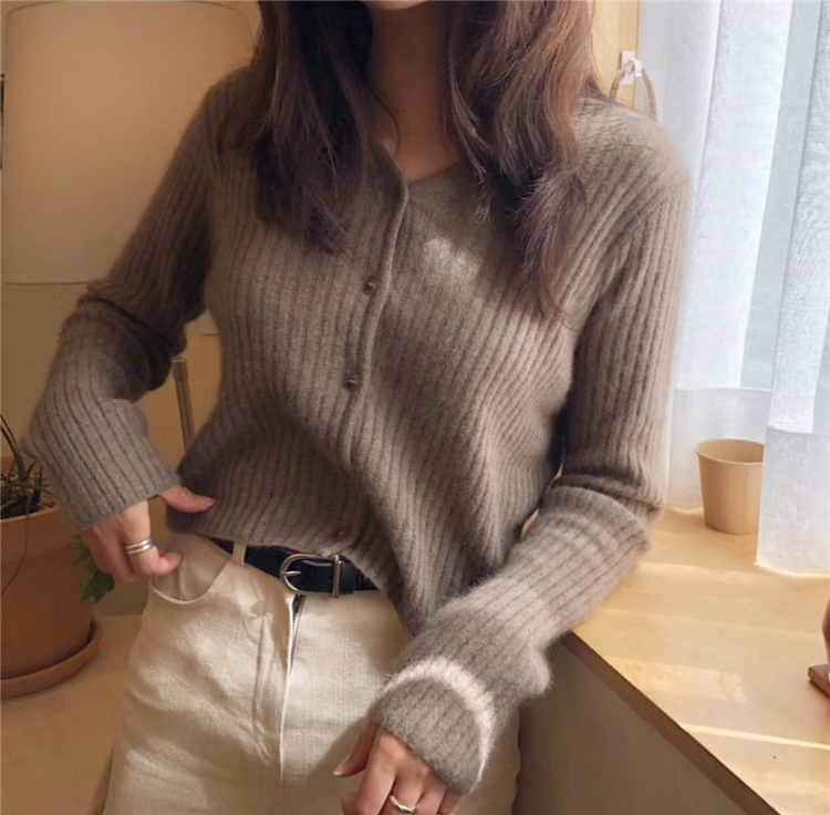 Mooishe Spring Women Knitted Cardigan Thread Knitting Soft Waxy Cardigan Sweater Short Loose Coat