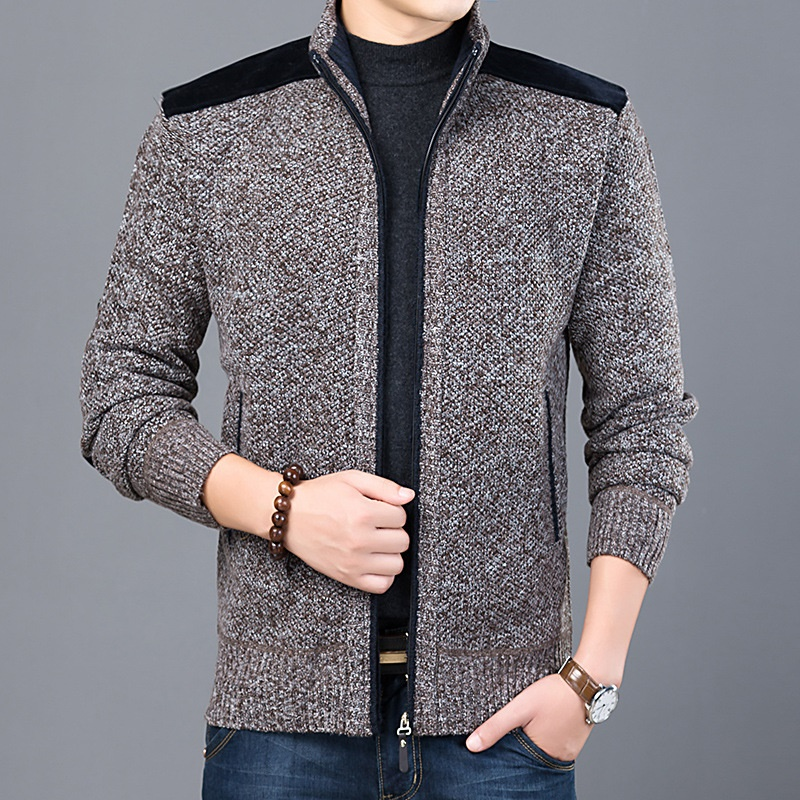 Classic Autumn Cardigan Sweater Men Casual Stand Collar Outerwear Sweater Coats Vintage Knitwear Solid Knitting Sweaters KK3003