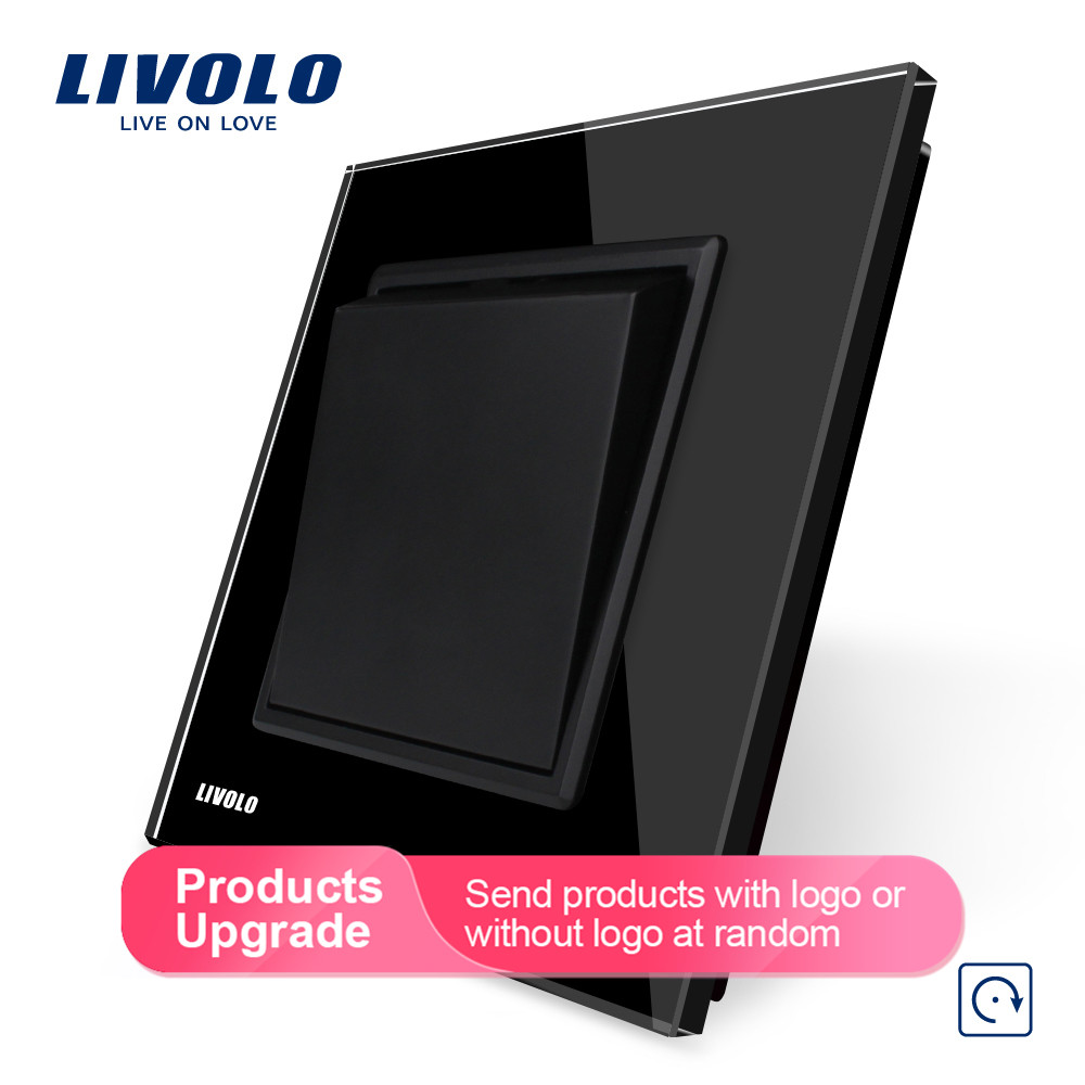 Image 2 - Livolo Manufacturer EU standard Luxury 4 colors crystal glass panel, 1 gang 1 way Push Reset switch, VL C7K1H 11/12/13/15-in Switches from Lights & Lighting