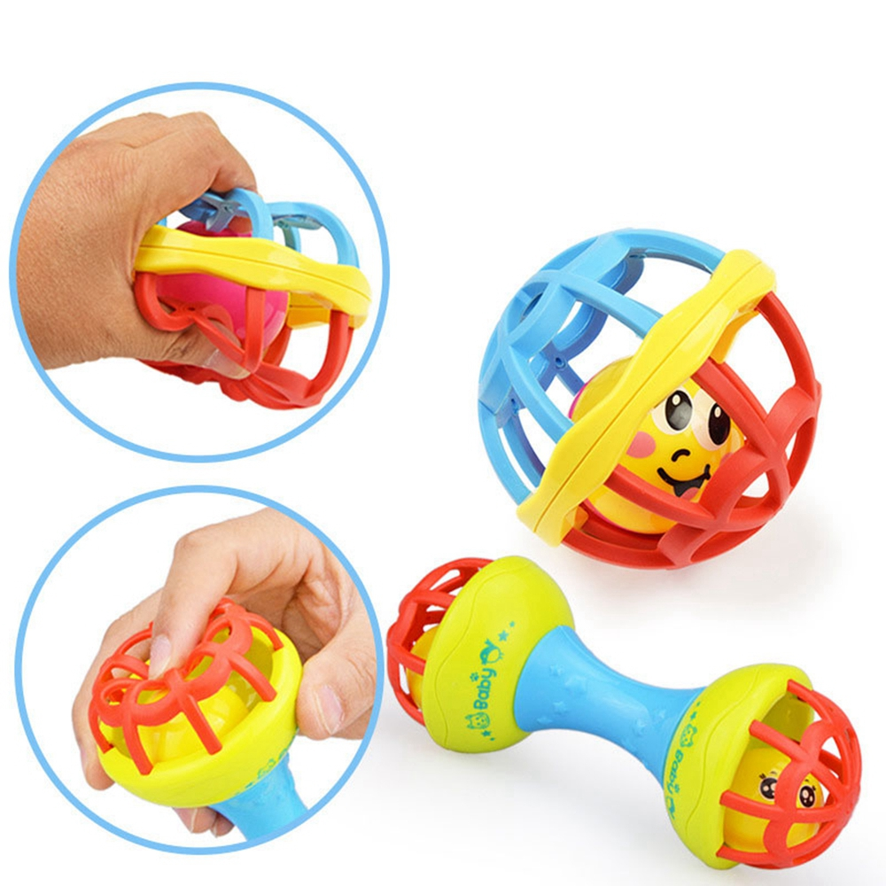 1 Pcs Baby Grasping Bell Rattles Toy Educational Intelligence Baby Teething Food Grade Toys For 0-3 Years Kids Gift High Quality