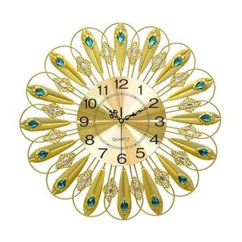 New iron art modern clock living room wall clock decorative clock fashion mute foreign trade peacock wall clock