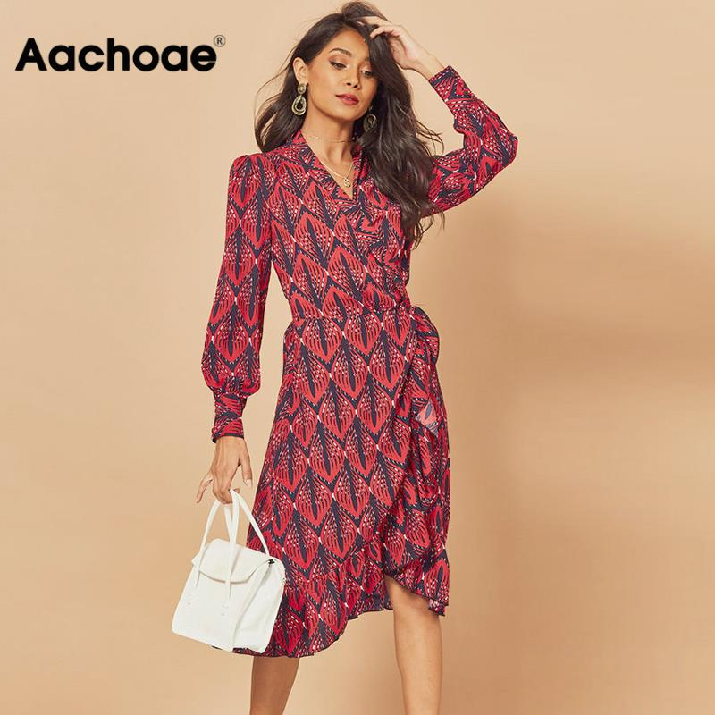 Aachoae 2020 Women Print Ruffle Dress Spring Lantern Long Sleeve V Neck Midi Dresses Causal Sashes Ladies Irregular Hem Dress