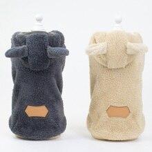 Рождественская домашняя собака одежда зимнее теплое флисовое утепленное пальто куртки Щенячий Кот толстовки Медведь узор Маленькие Средние собаки одежда