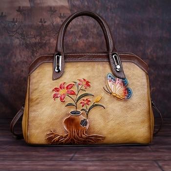 High Quality Genuine Leather Women Shoulder Cross body Bags Embossed Female Floral Real Cowhide Lady Messenger Tote Bag Handbag