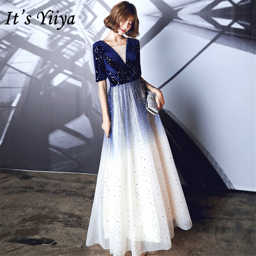 It's Yiiya Evening Dress Navy Blue Gradient Formal Evening Dresses V-neck E1433 Half Sleeve Crystal Long Robe De Soiree 2020