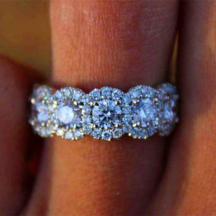 หญิงหรูหราคริสตัลขนาดใหญ่หมั้นแหวนน่ารัก 925 เงิน rose gold zircon แหวนหิน retro CZ งานแต่งงานแหวนที่ดีที่สุดของขวัญ
