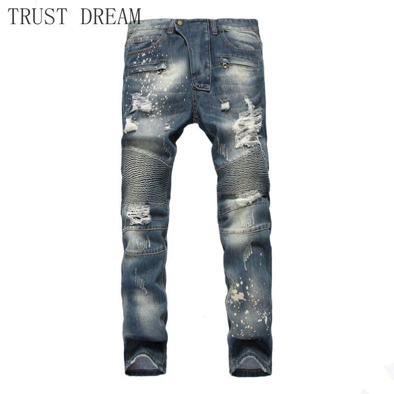 Autumn Man Scratched Slim Biker Jeans Straight Zipper Vintage Holes Men Biker Motor Denim Pants Destroyed Trousers Plus Size