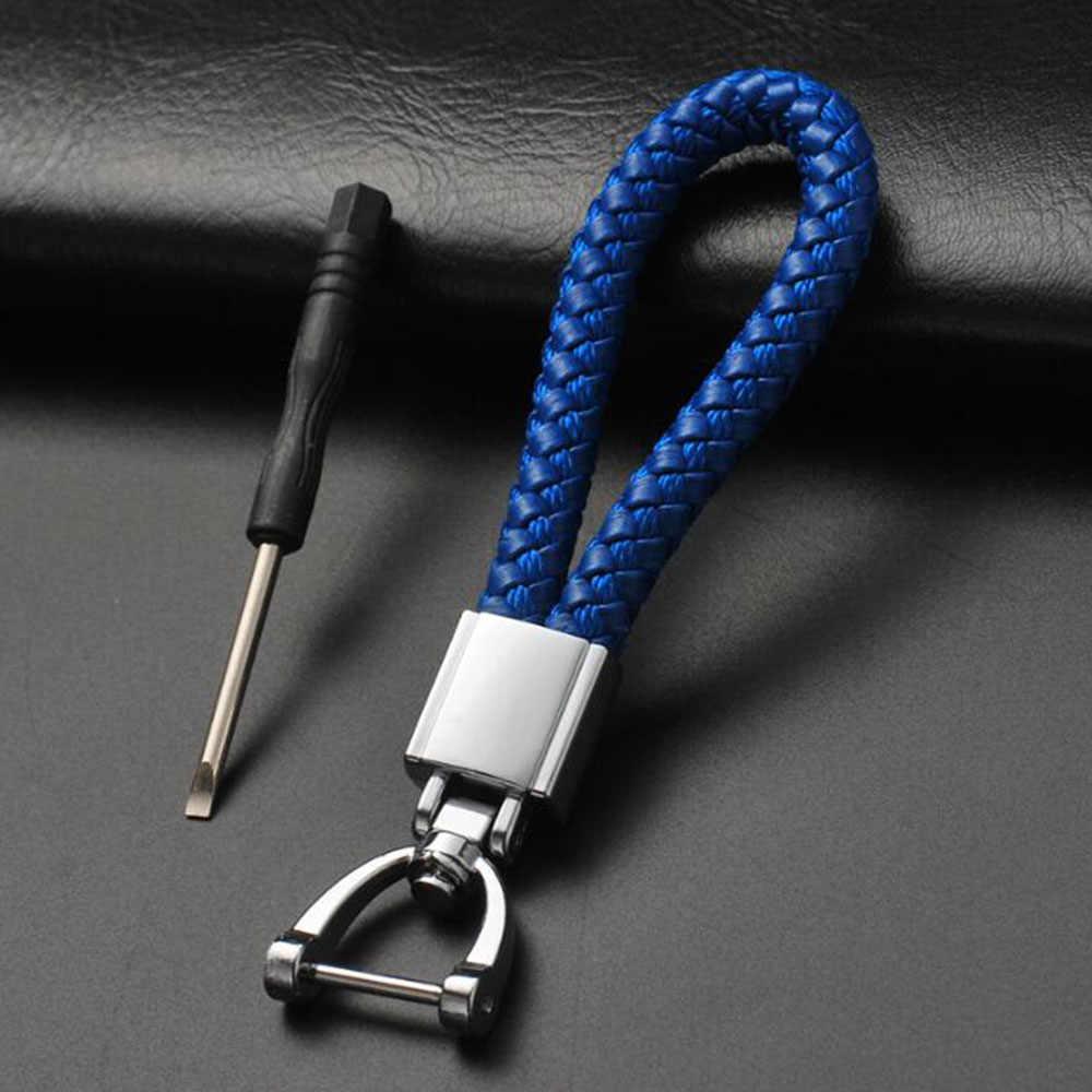ทำด้วยมือคุณภาพสูงทอ PU หนัง Keychain 360 องศาหมุน Horseshoe เครื่องประดับแหวนผู้ถือกระเป๋าของแท้จี้สีดำโรเดียมชุบสี Drop Shipping